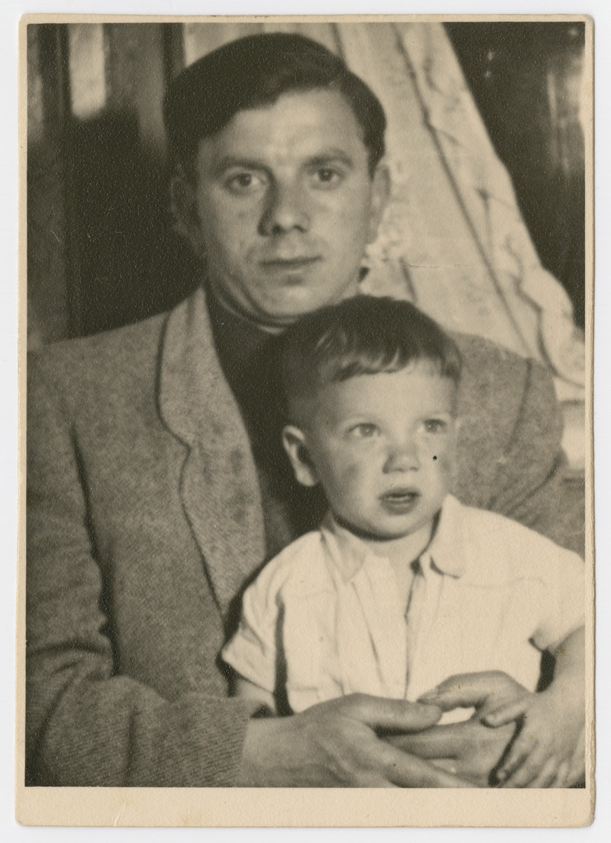 Close-up portrait of Nachman Katz and his son sent to his cousins, the Newmans, in America.