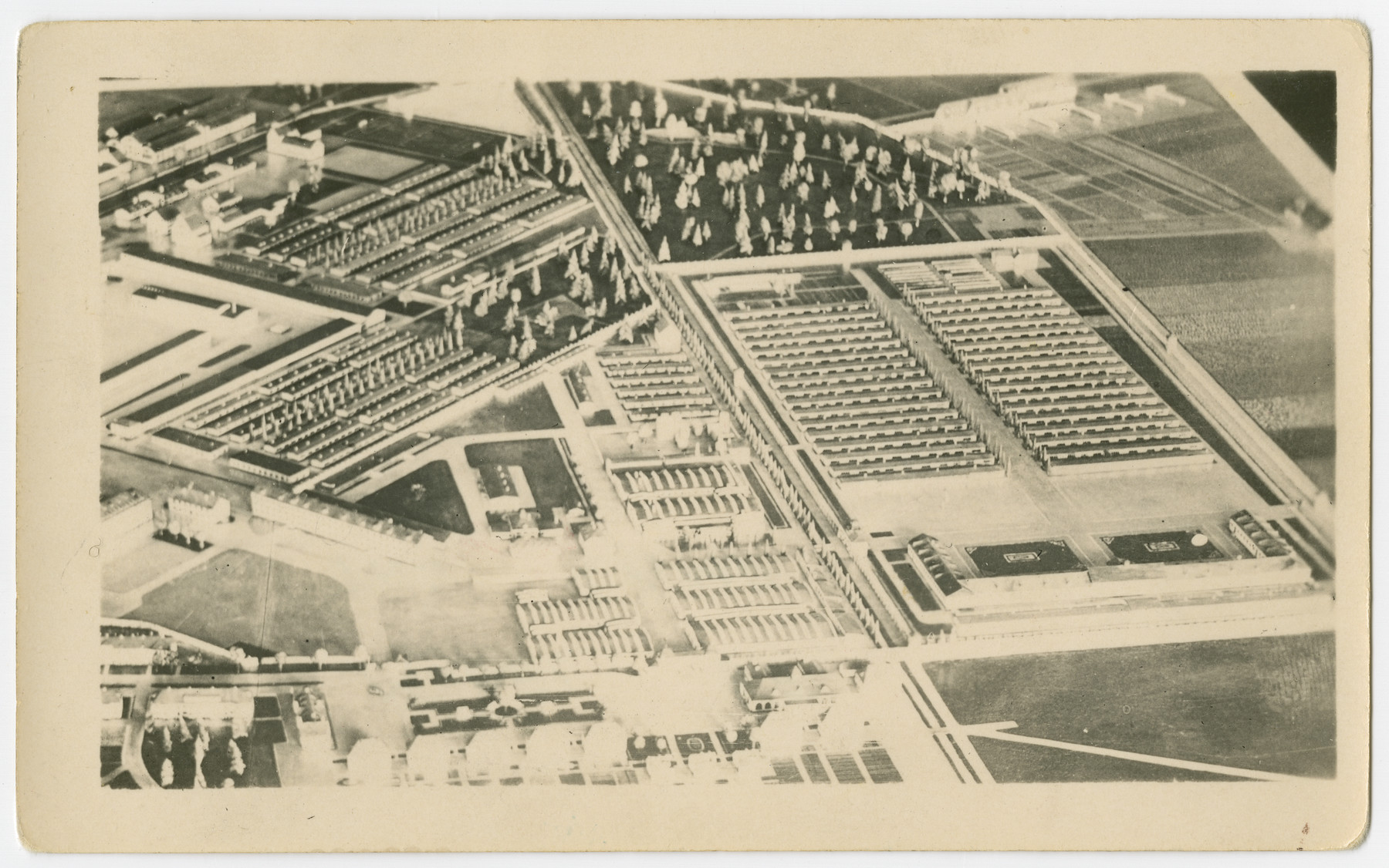 Postwar architectural model of the former Dachau concentration camp.