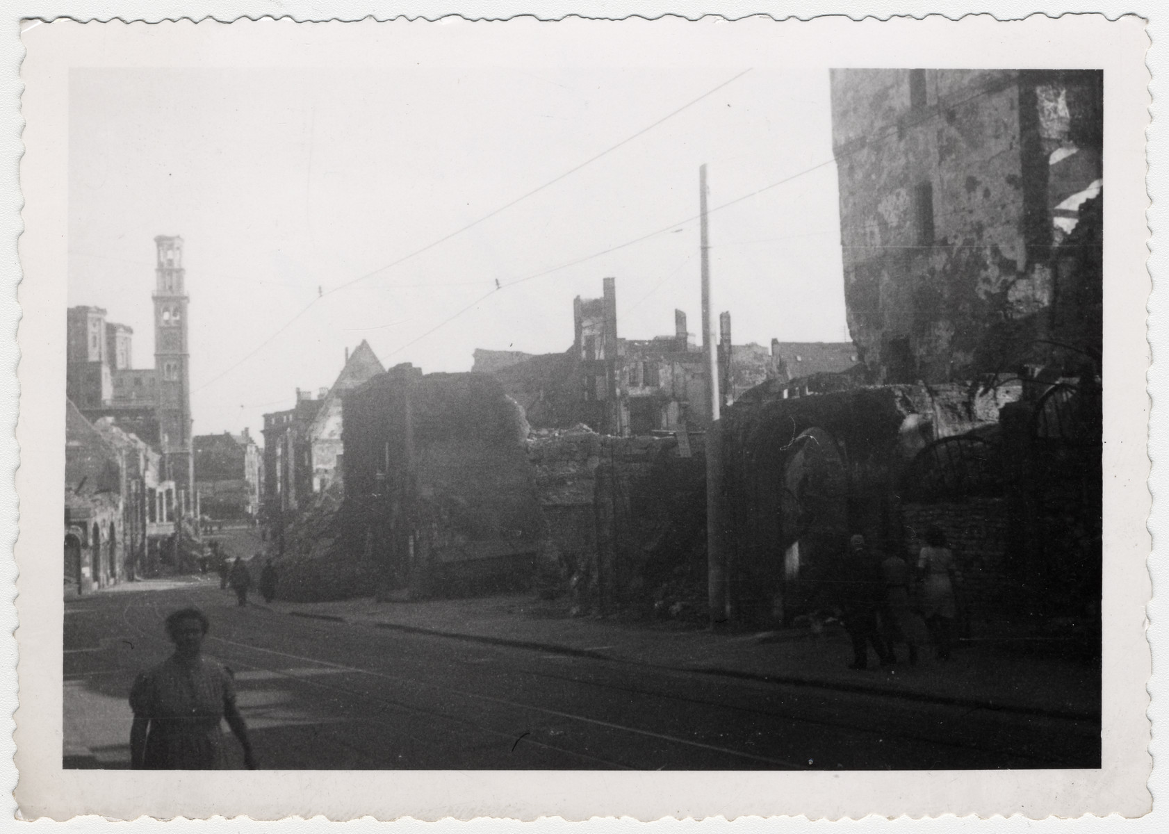 View of a bombed out street in Augsburg, Germany.
