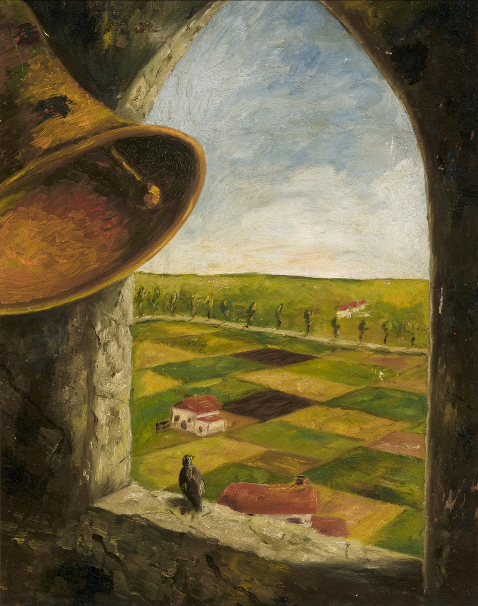Landscape painting drawn by Heinz Geiringer, a Jewish teenager in Amsterdam, while in hiding to keep himself occupied.  The paintings were hidden under the floorboards of the hiding place and retrieved after the war.