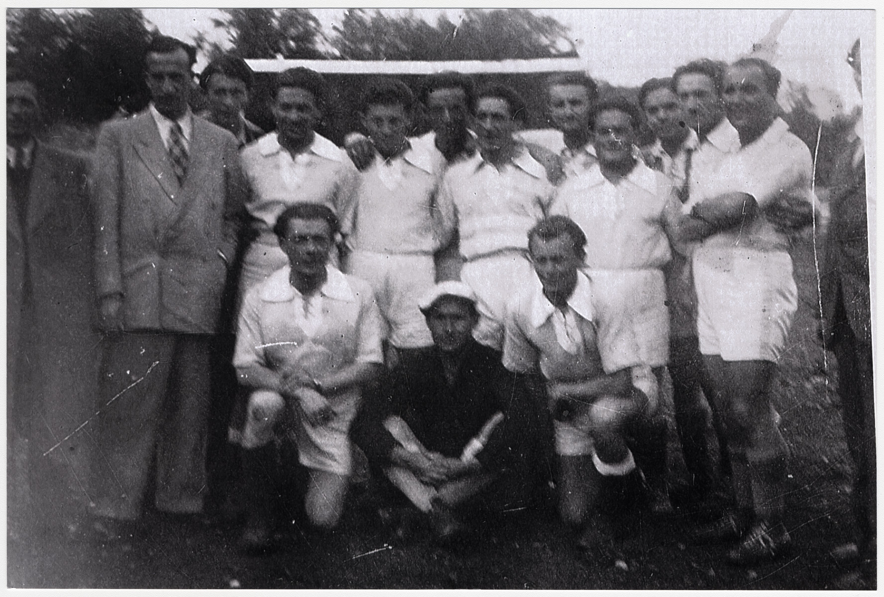 Portrait of the soccer team in the Munich displaced persons camp.