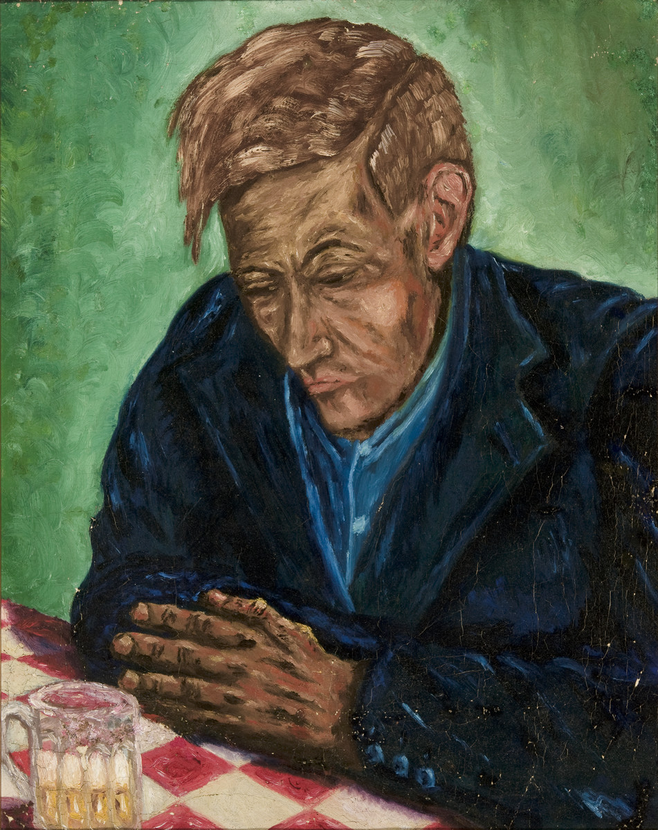 Portrait of a man painted by Erich Geiringer while in hiding.  The paintings were hidden under the floorboards of the hiding place and retrieved after the war.