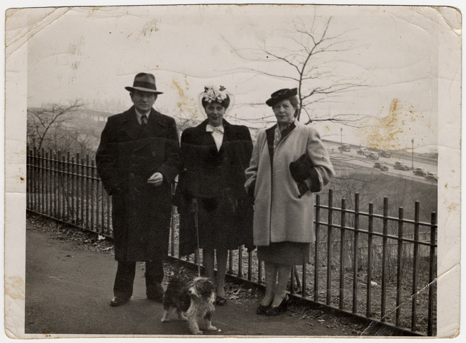 Max, Judith, and Bella Klinger pose for a photograph in the US after the war.   Max was Joel's brother.  He and his family survived as Christians during the war and came to the United States from Belgium in 1943.