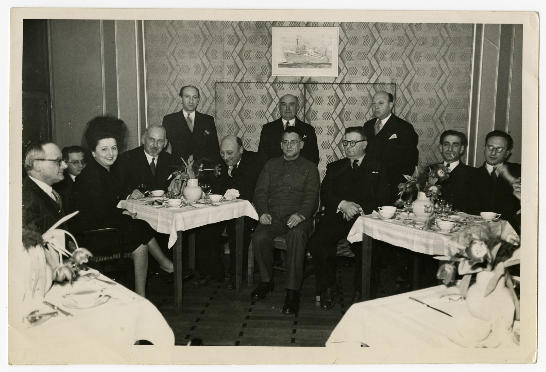 Zionist meeting of a group of Belgian Jews.  [It is unclear if this is wartime or postwar.]  Fela Perelman is third from left, Chaim Perelman is at the far right, and Abush Werber is next to Chaim Perelman.