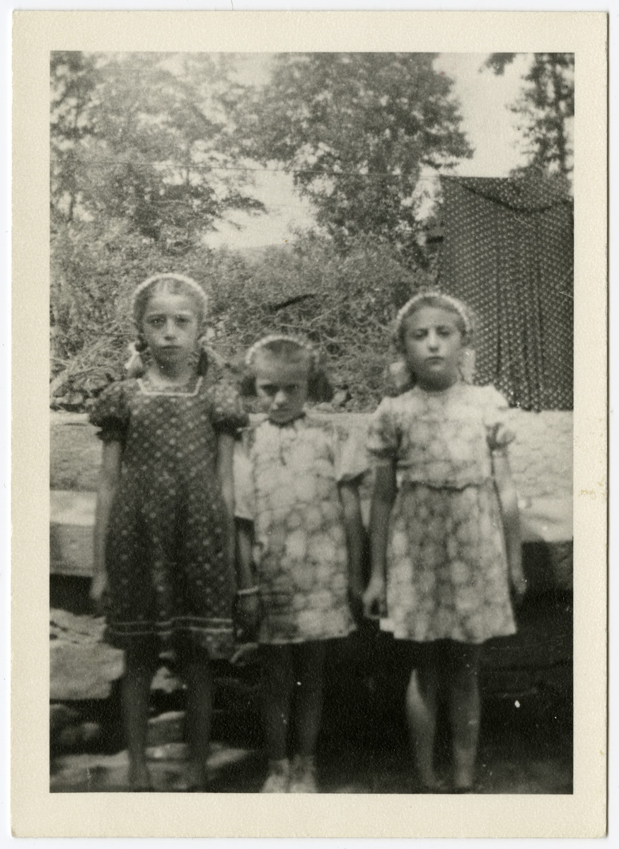 Portrait of three Jewish cousins in Botragy.  Pictured from left to right are Gyongyi Mermelstein (cousin of the donor), Edit Fogel, and Iren Fogel.  Only Iren survived.