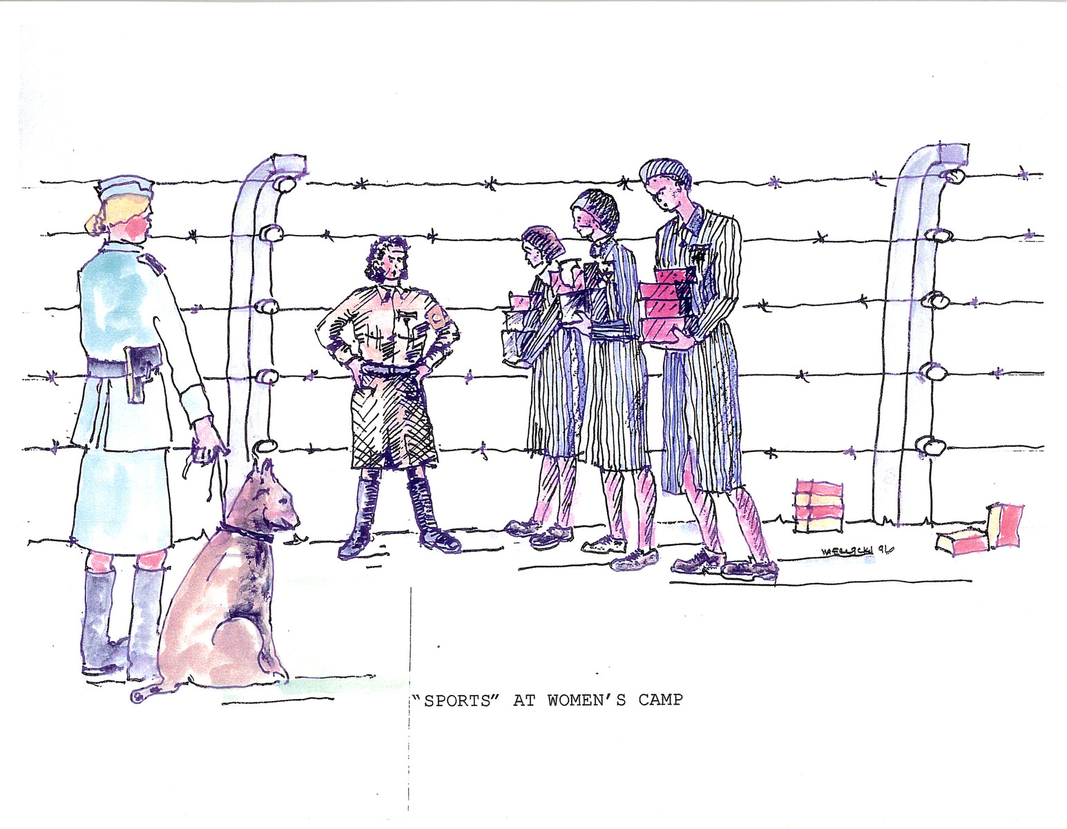 """A watercolor and ink drawing from the pictorial memoire entitled,  """"Images from Auschwitz-Birkenau, by John Wiernicki, Polish Resistance Fighter, Prisoner Number P150302.""""  The caption reads, """"'Sports' at women's camp."""""""