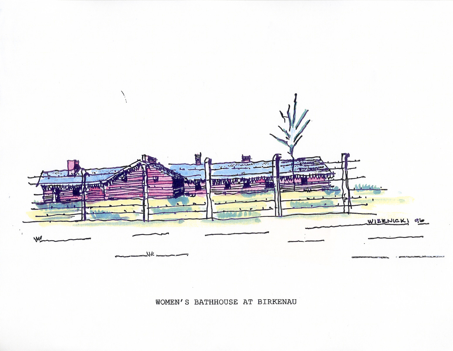 "A watercolor and ink drawing from the pictorial memoire entitled,  ""Images from Auschwitz-Birkenau, by John Wiernicki, Polish Resistance Fighter, Prisoner Number P150302.""  The caption reads, ""Women's bathhouse at Birkenau."""