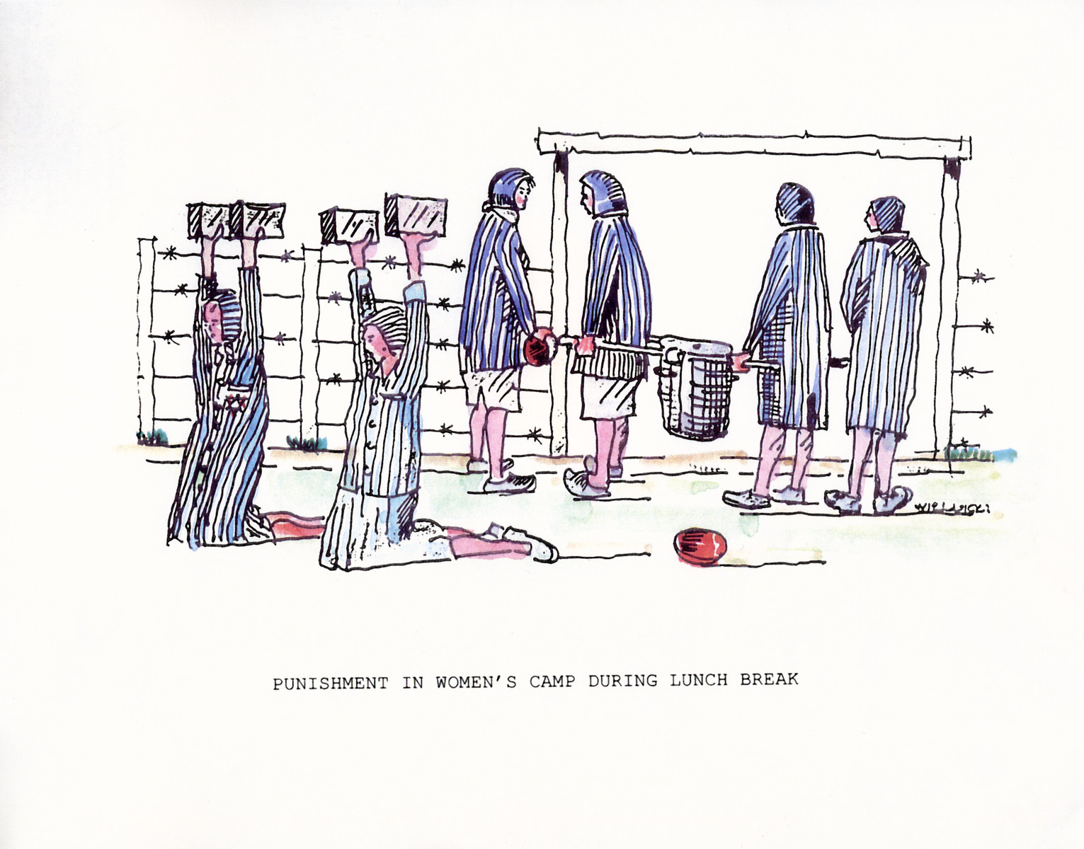 """A watercolor and ink drawing from the pictorial memoire entitled,  """"Images from Auschwitz-Birkenau, by John Wiernicki, Polish Resistance Fighter, Prisoner Number P150302.""""  The caption reads, """"Punishment in women's camp during lunch hour break."""""""