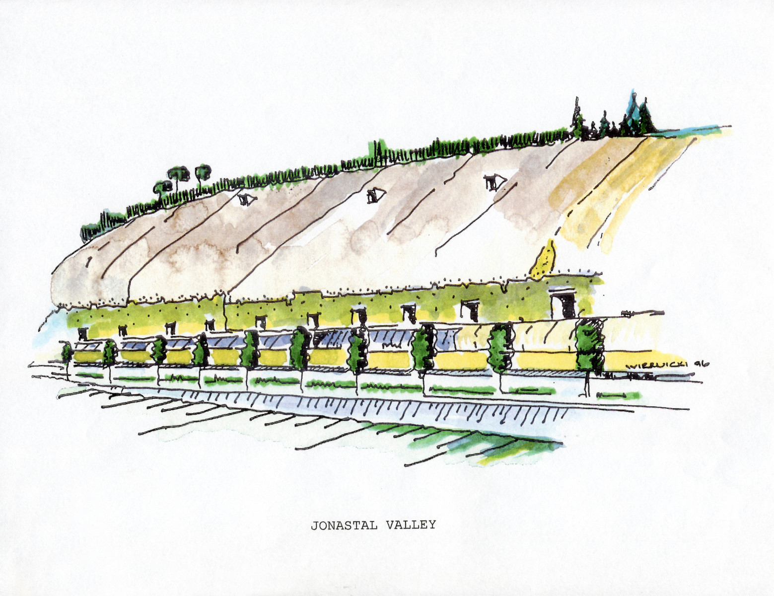 "A watercolor and ink drawing from the pictorial memoire entitled,  ""Images from Auschwitz-Birkenau, by John Wiernicki, Polish Resistance Fighter, Prisoner Number P150302.""  The caption reads, ""Jonastal Valley."""