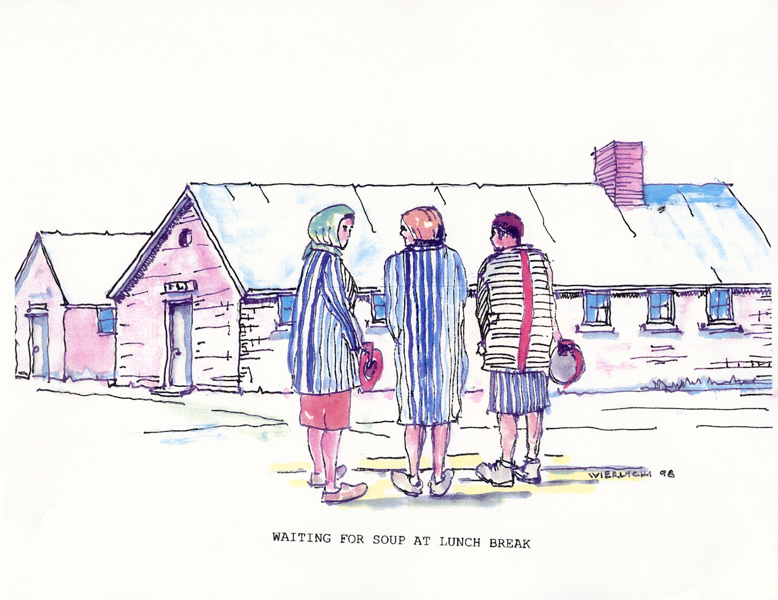 "A watercolor and ink drawing from the pictorial memoire entitled,  ""Images from Auschwitz-Birkenau, by John Wiernicki, Polish Resistance Fighter, Prisoner Number P150302.""  The caption reads, ""Waiting for soup at lunch break."""