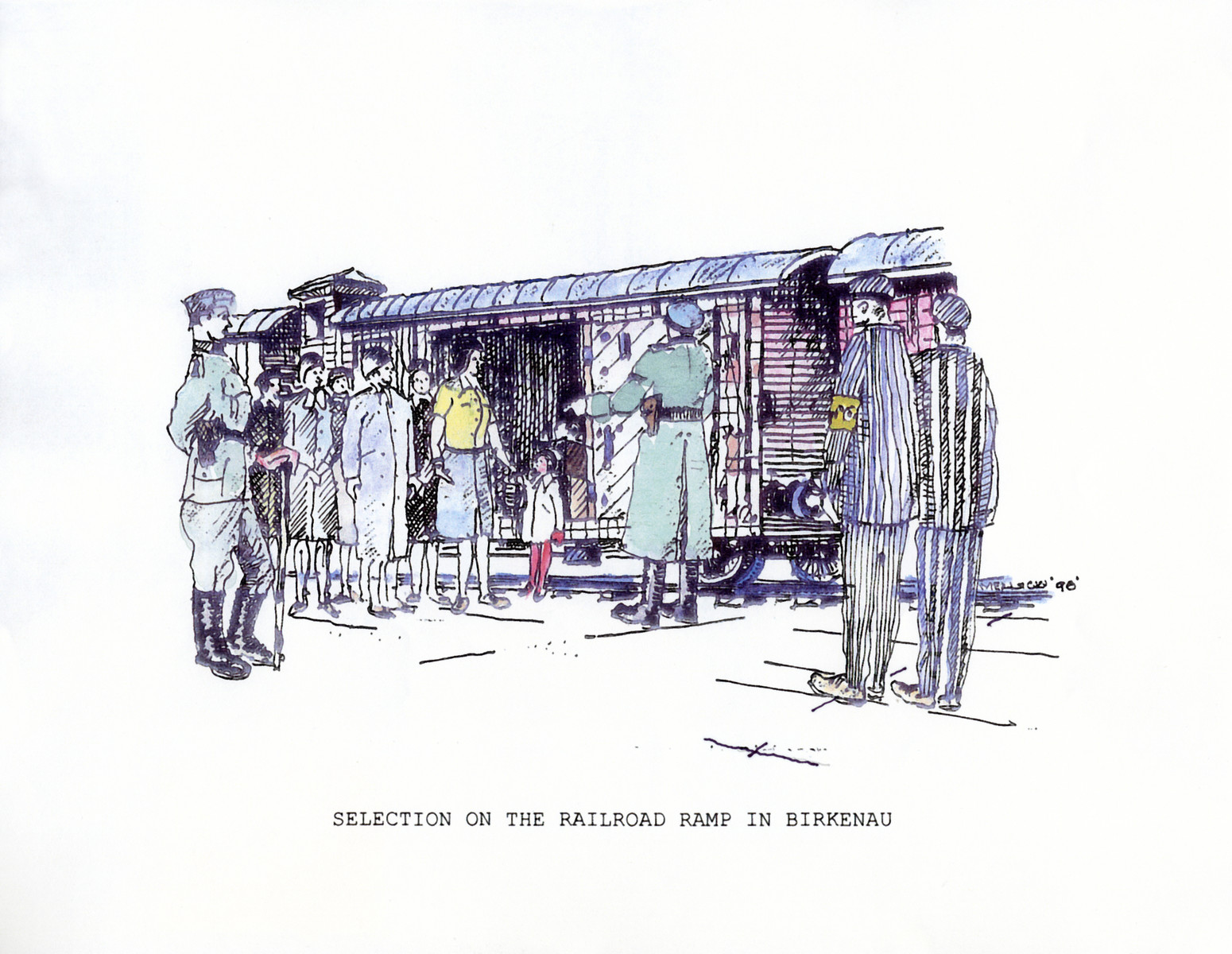 "A watercolor and ink drawing from the pictorial memoire entitled,  ""Images from Auschwitz-Birkenau, by John Wiernicki, Polish Resistance Fighter, Prisoner Number P150302.""  The caption reads, ""Selection on the railroad ramp in Birkenau."""