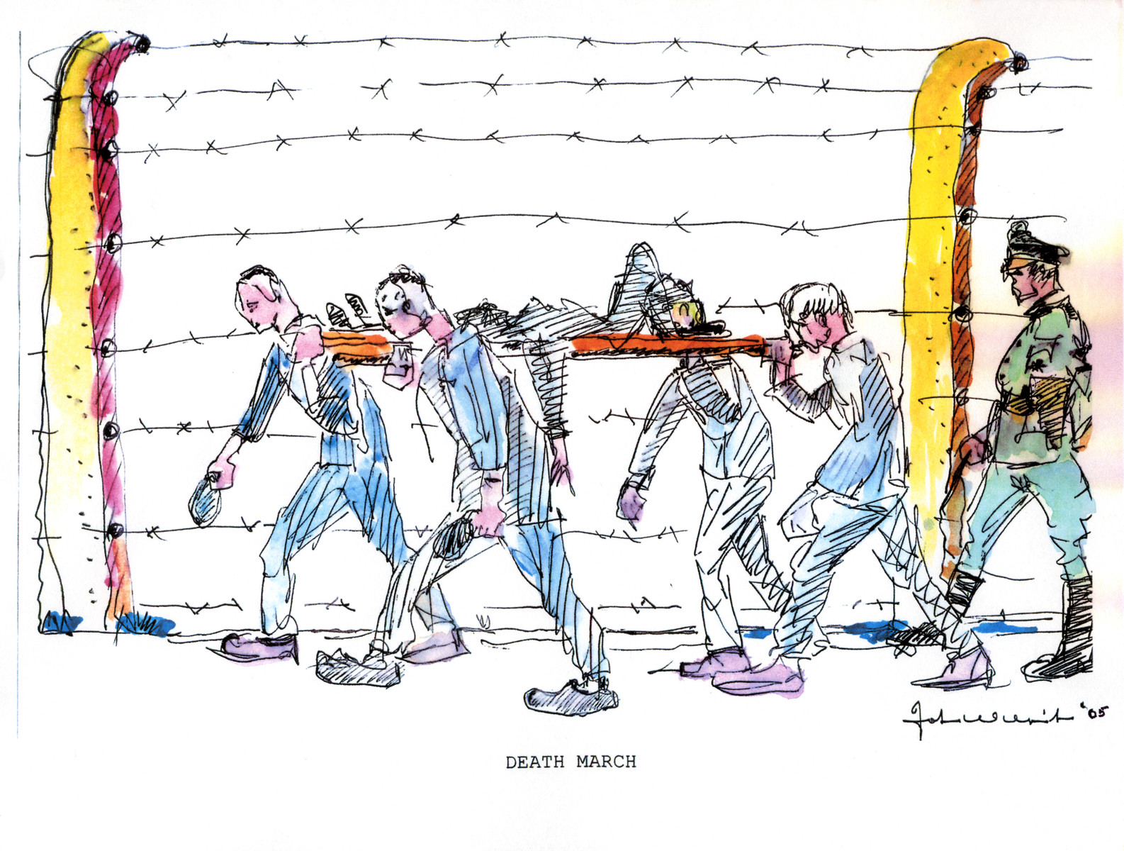 "A watercolor and ink drawing from the pictorial memoire entitled,  ""Images from Auschwitz-Birkenau, by John Wiernicki, Polish Resistance Fighter, Prisoner Number P150302.""  The caption reads, ""Death March."""