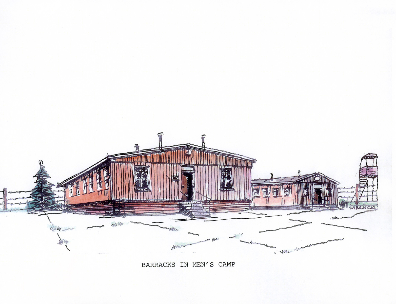 "A watercolor and ink drawing from the pictorial memoire entitled,  ""Images from Auschwitz-Birkenau, by John Wiernicki, Polish Resistance Fighter, Prisoner Number P150302.""  The caption reads, ""Barracks in men's camp."""