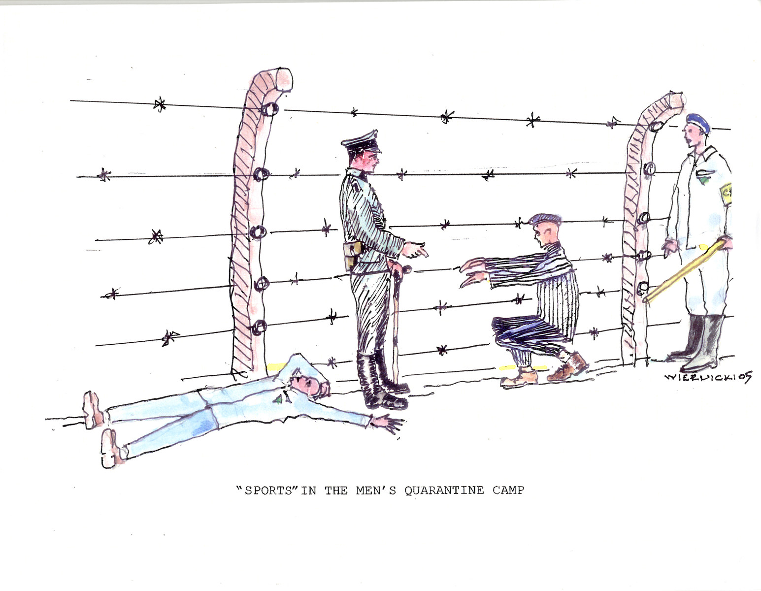 """A watercolor and ink drawing from the pictorial memoire entitled,  """"Images from Auschwitz-Birkenau, by John Wiernicki, Polish Resistance Fighter, Prisoner Number P150302.""""  The caption reads, """" 'Sports' in the men's quarantine camp."""""""