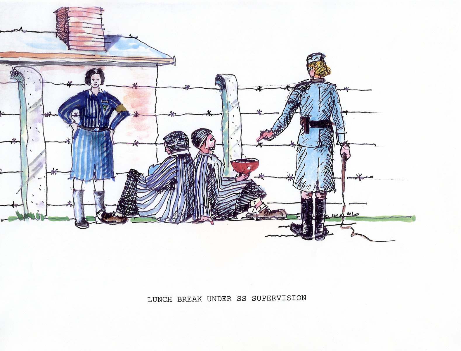 """A watercolor and ink drawing from the pictorial memoire entitled,  """"Images from Auschwitz-Birkenau, by John Wiernicki, Polish Resistance Fighter, Prisoner Number P150302.""""  The caption reads, """"Lunch break under SS Supervision."""""""