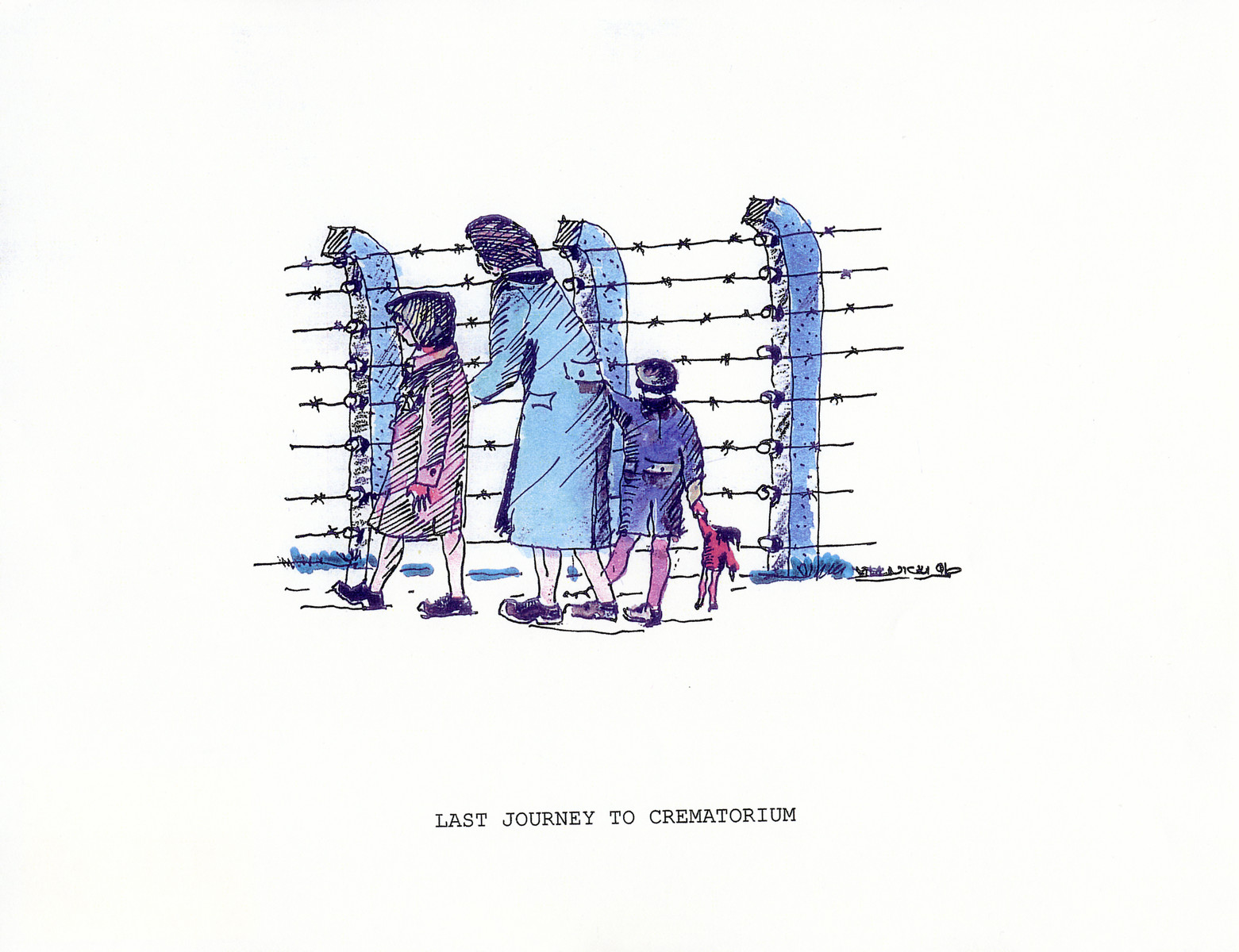 """A watercolor and ink drawing from the pictorial memoire entitled,  """"Images from Auschwitz-Birkenau, by John Wiernicki, Polish Resistance Fighter, Prisoner Number P150302.""""  The caption reads, """"Last journey to crematorium."""""""