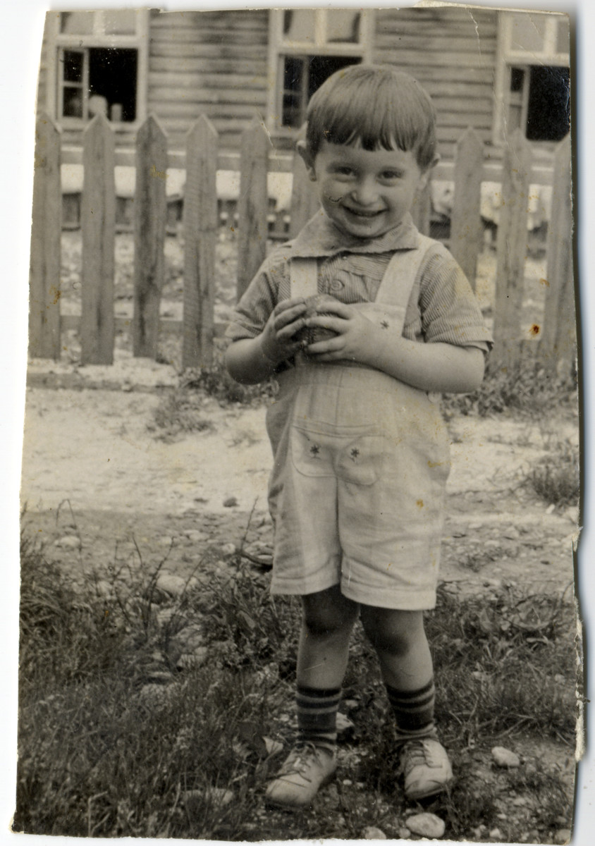 Irving (Israel Hersh) Feldman poses with his ball in the Wels displaced persons' camp.