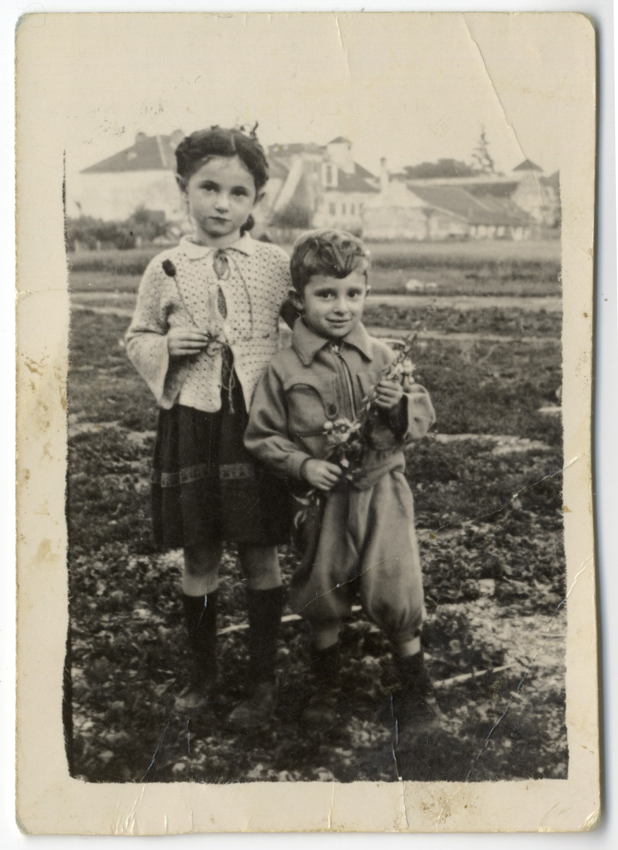 Portrait of Fred Feldman and his cousin Barbara Lopata in the Wels DP camp.