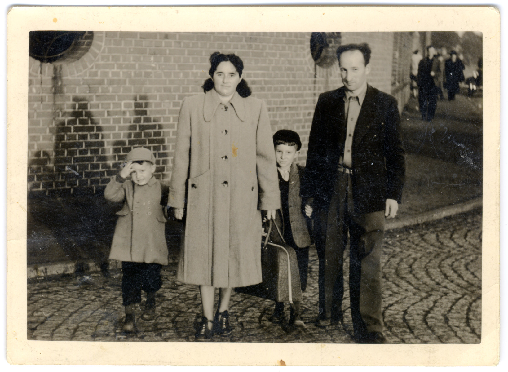 Mendel and Frieda Feldman with their children Fred and Irving, board the steamship SS General Sturgis in Bremerhaven, Germany, on their way to the United States.