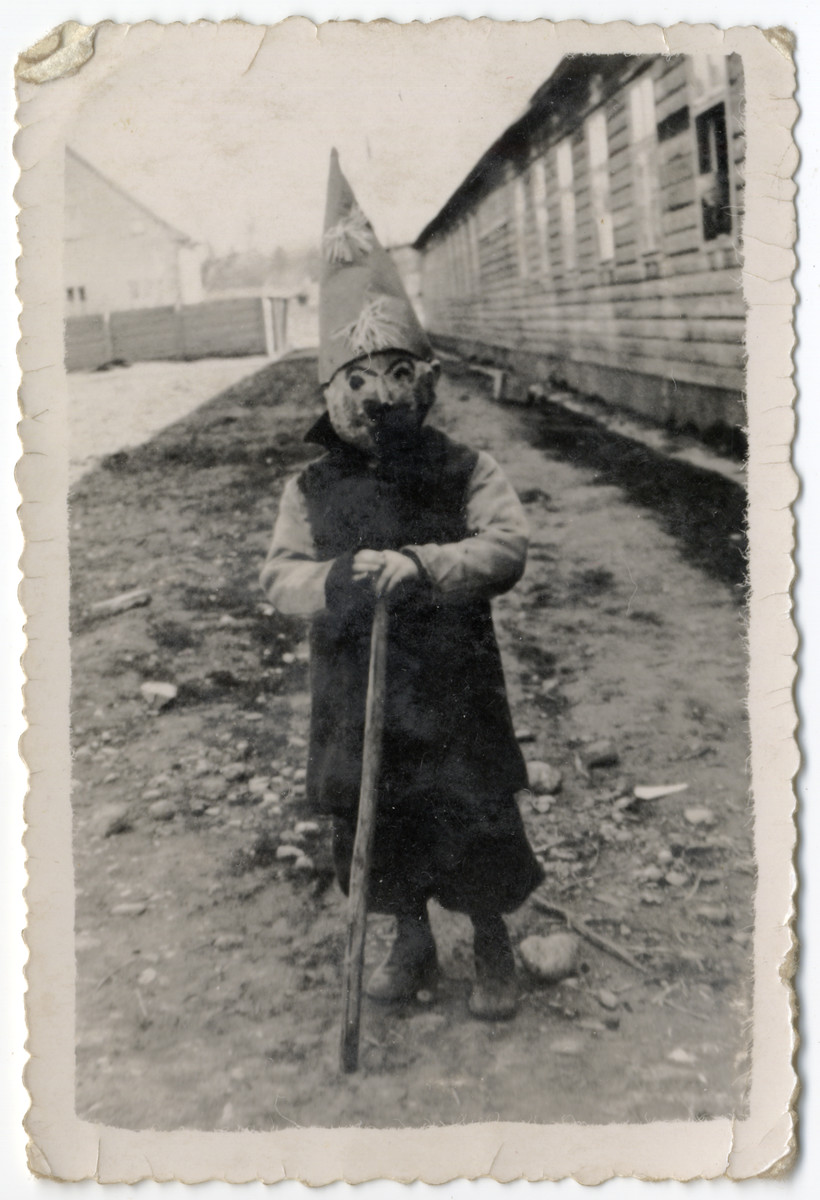 Fred Feldman dresses up for Purim in the Wels displaced persons' camp.