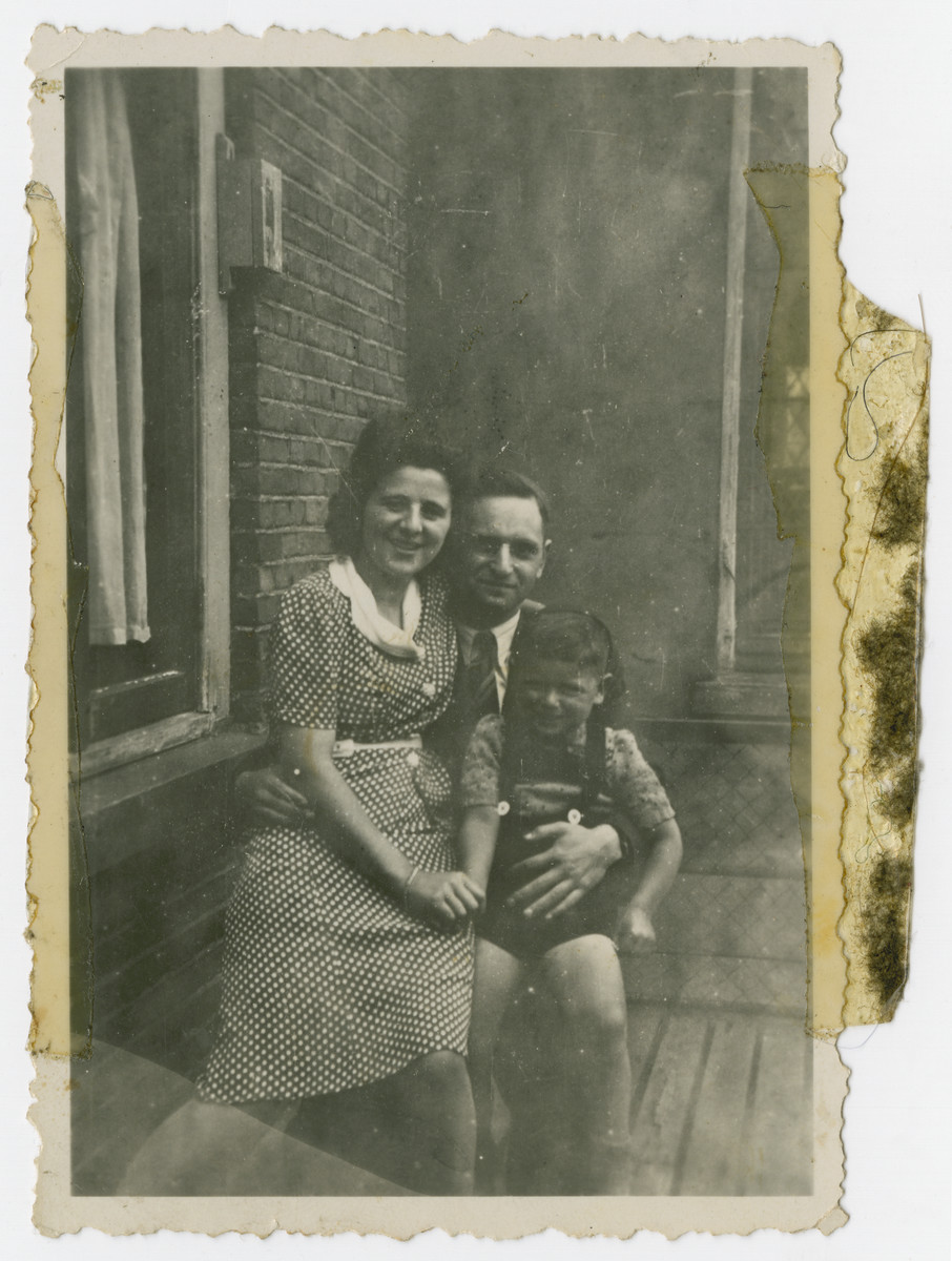 Family portrait of Yirzchak, Lena and Aaron Jedwab taken prior to their immigration to the United States.