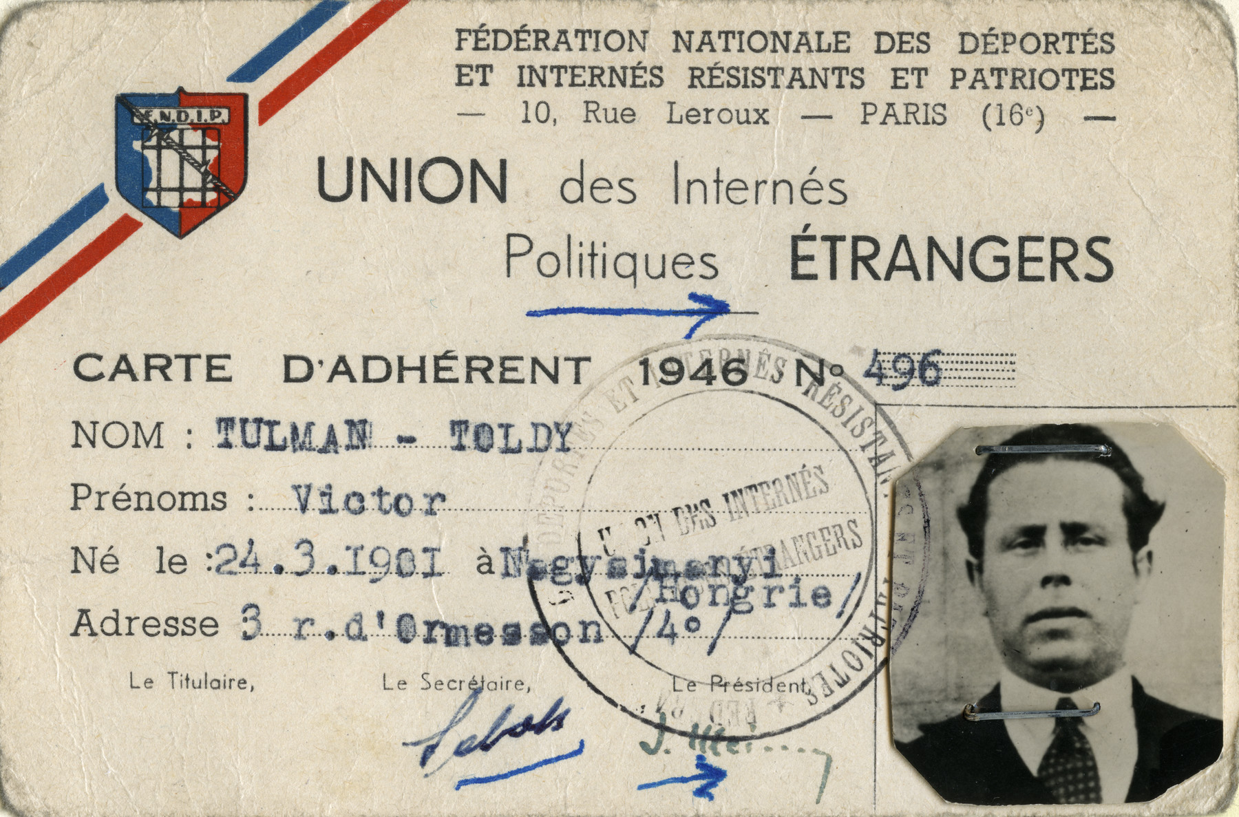 Identification card for Victor Tulman-Toldy issued by the National Federation of Deportees, Internees and Resisters and Patriots,