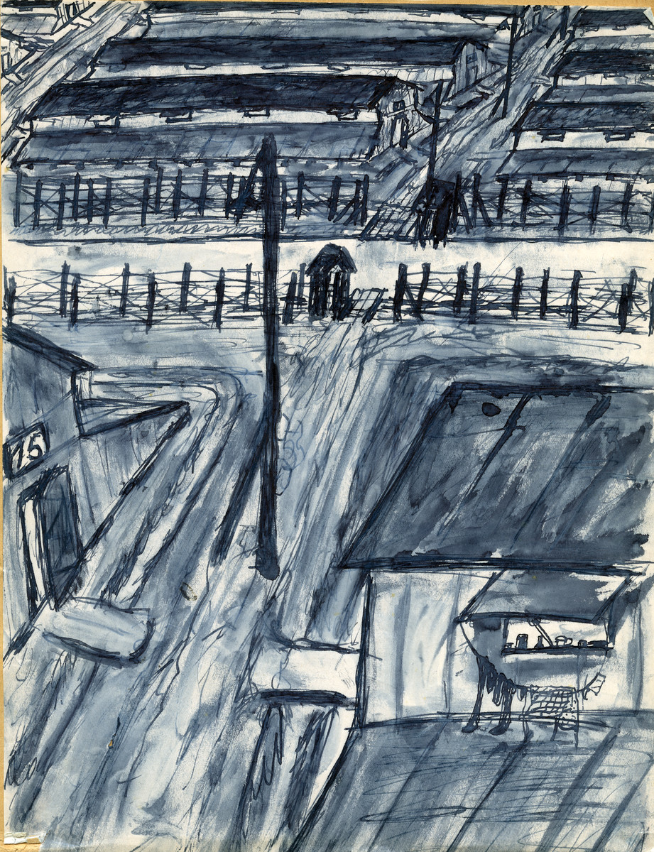 Sketch of the Gurs internment camp drawn by German prisoner, Hella Bacmeister.