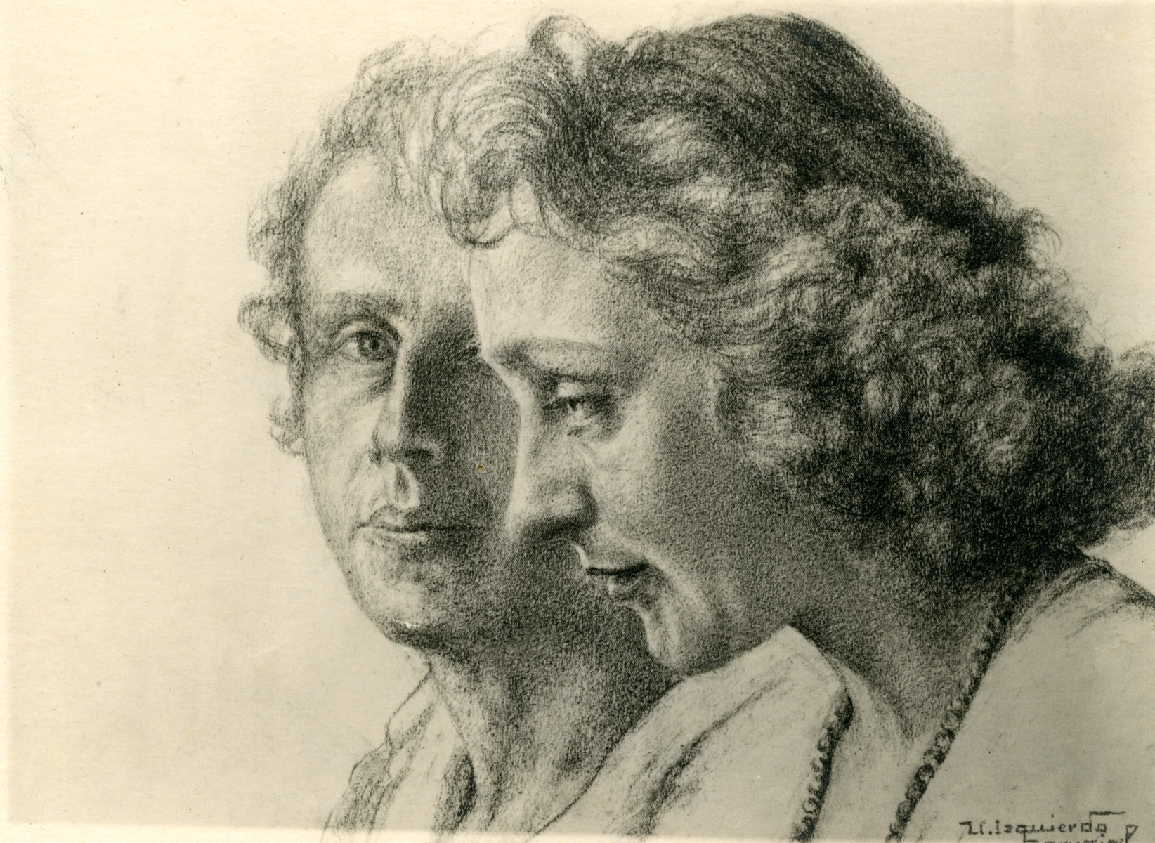 Portrait of Victor Tulman and Hella Bacmeister, drawn in the Gurs internment camp by Spanish prisoner, Isquierdo Carvajal.