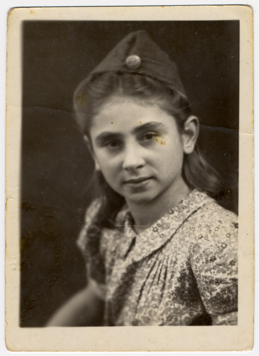 Close-up portrait of Golda Gross, a Jewish girl who had been in the Rosenheim displaced person's camp and a passenger on board the Exodus.