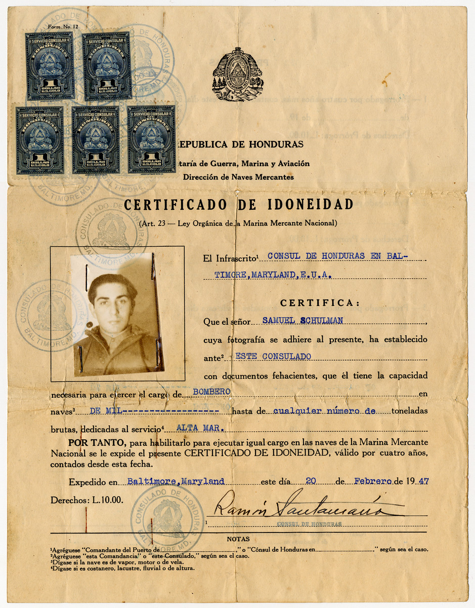 Document issued by the Honduran consulate certifying that Samuel Schulman is qualified to serve as a crew member of a ship.