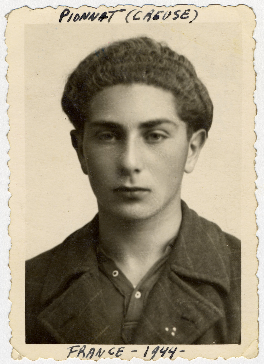 Close-up portrait fo Samuel Schulman, an American-born Jewish teenager living in hiding in southern France.