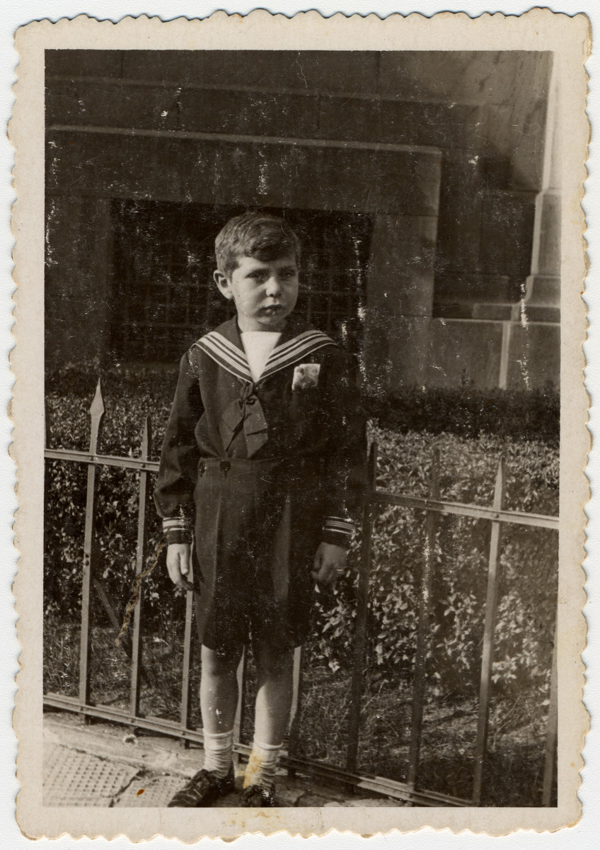 Close up portrait of Samuel Schulman, a young American-born Jewish boy in France.