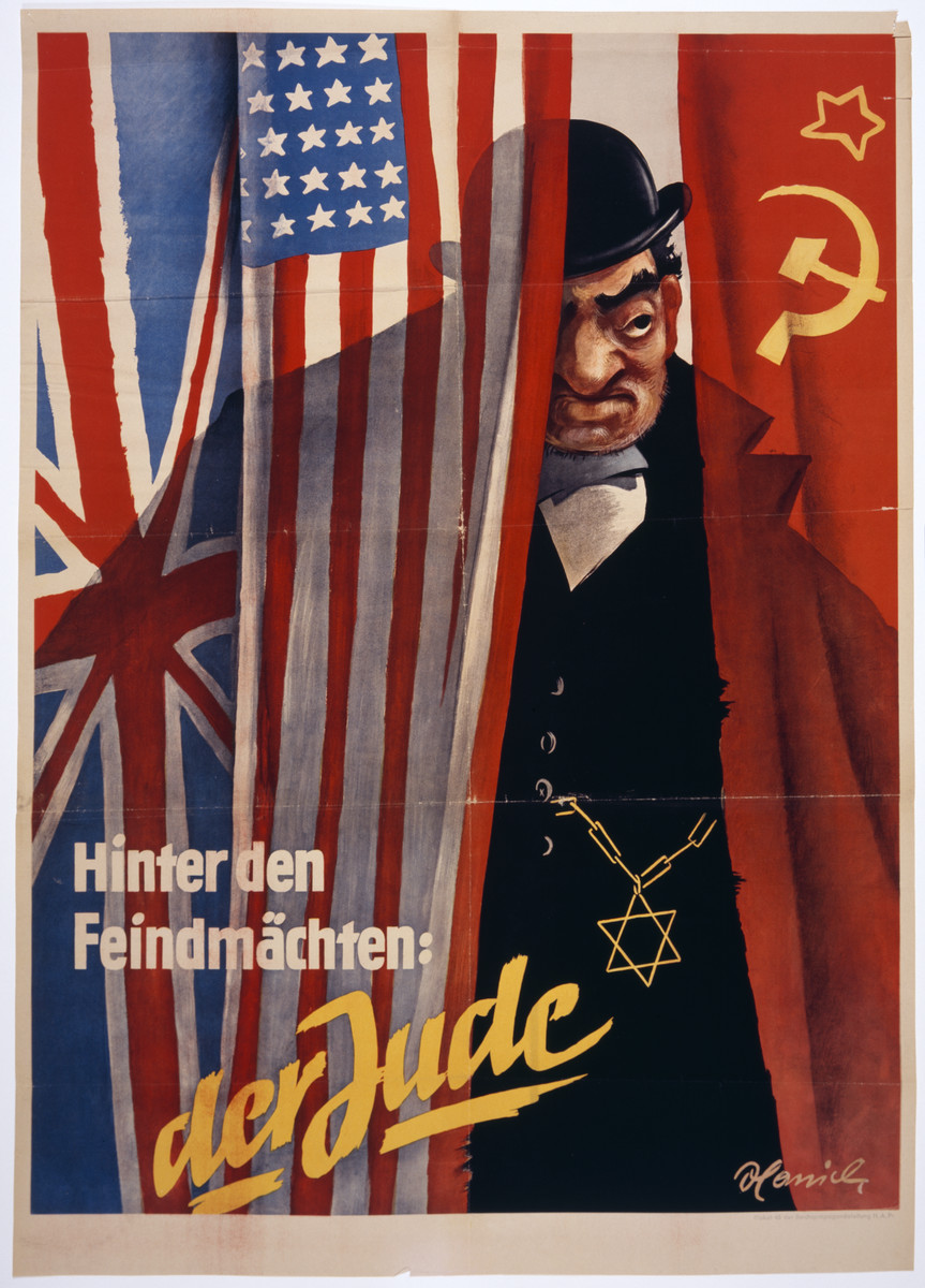 """An antisemitic poster entitled, """"Behind the enemy powers: the Jew."""""""