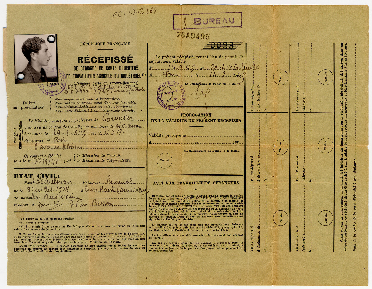 Document granting Samuel Schulman, an American citizen, permission to work as a courrier in France for a six month period.