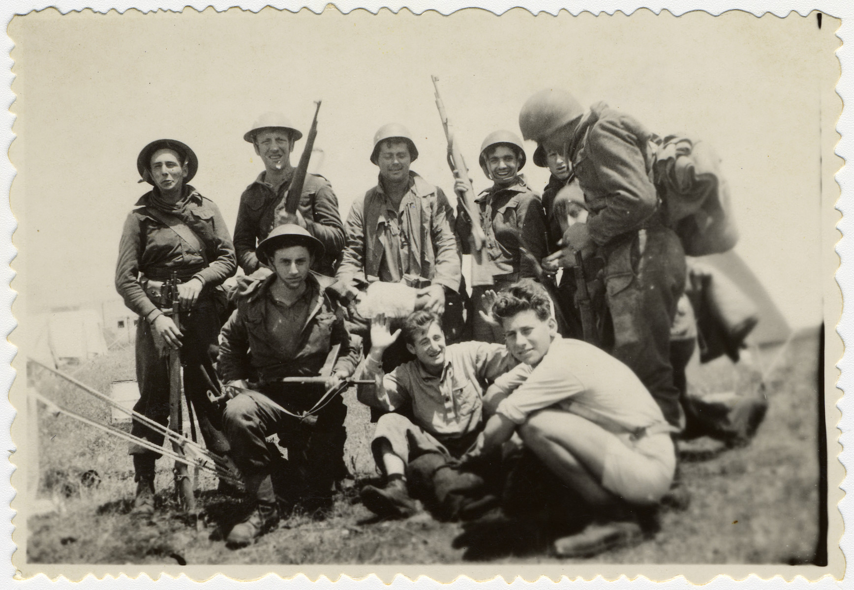 Group portrait of a Palmach unit in Israel.  Pictured squatting on the far right is Daniel Barnea (formerly Werner Heilbronner).
