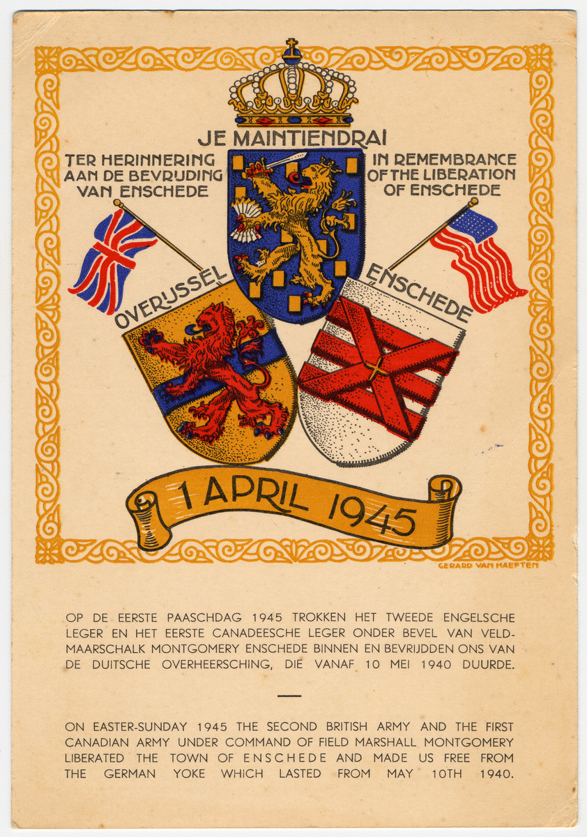 Document decorated with different shields and flags commemorates the liberation of Enschede by British and Canadian forces on April 1, 1945.