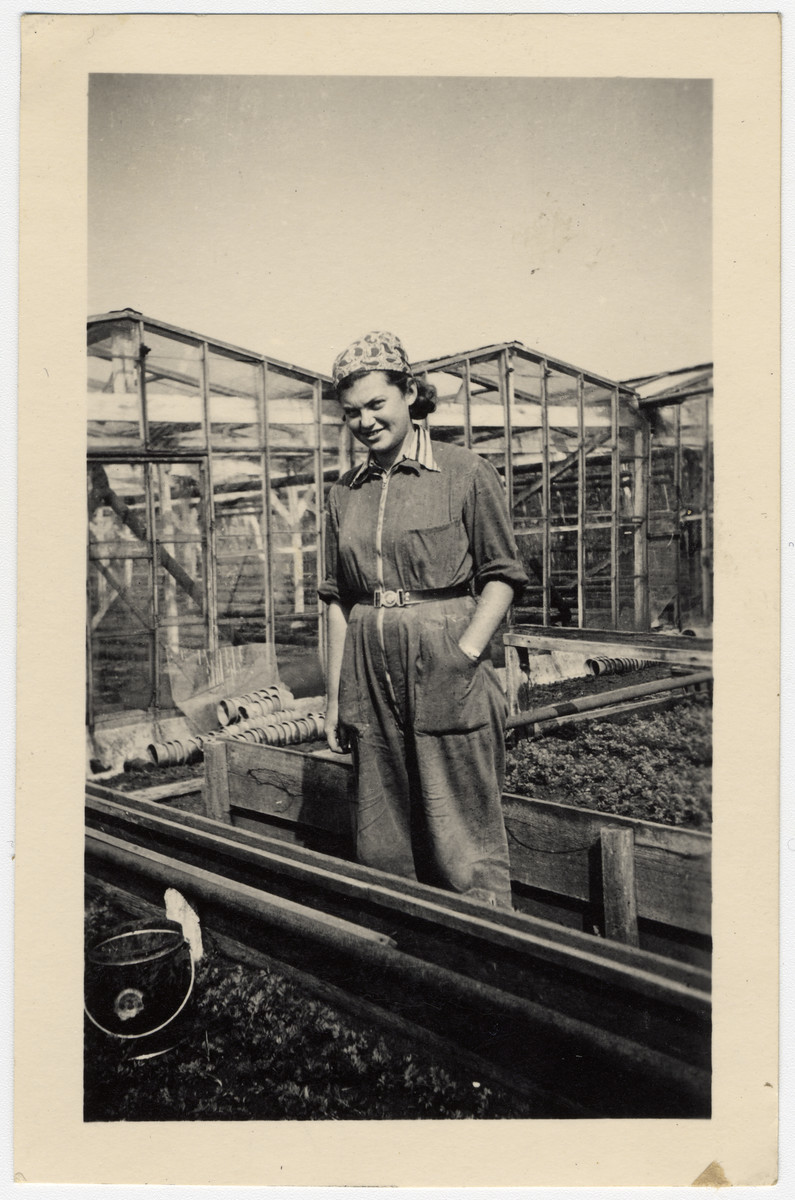 A young woman works in a kibbutz hachshara in Westerbork in The Netherlands.    Pictured is Adina  Simon (Kochba), wife of Jewish resistance leader Joachim (Shushu) Simon.   Working together with Joop Westerweel, in October 1942 they escaped to organize and escape route out of The Netherlands.  She eventually made her way to Switzerland where she became an instructor in the Versoix children's home in Switzerland.  Shushu returned to The Netherlands to organize future escapes.  The following January, Shushu was arrested and imprisoned in the Breda prison where he committed suicide in order not to dilvulge any information about the underground.