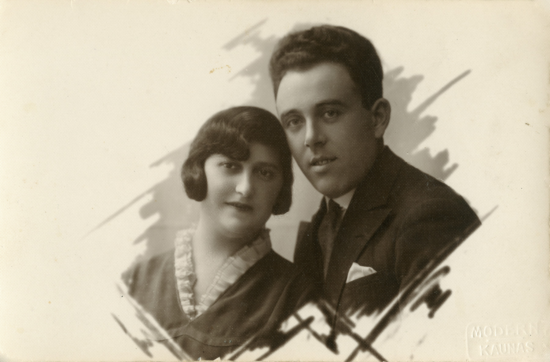Studio portrait of Chava and Motel Nadel.   They and their daughters Bluma and Chaya all perished in the Holocaust.