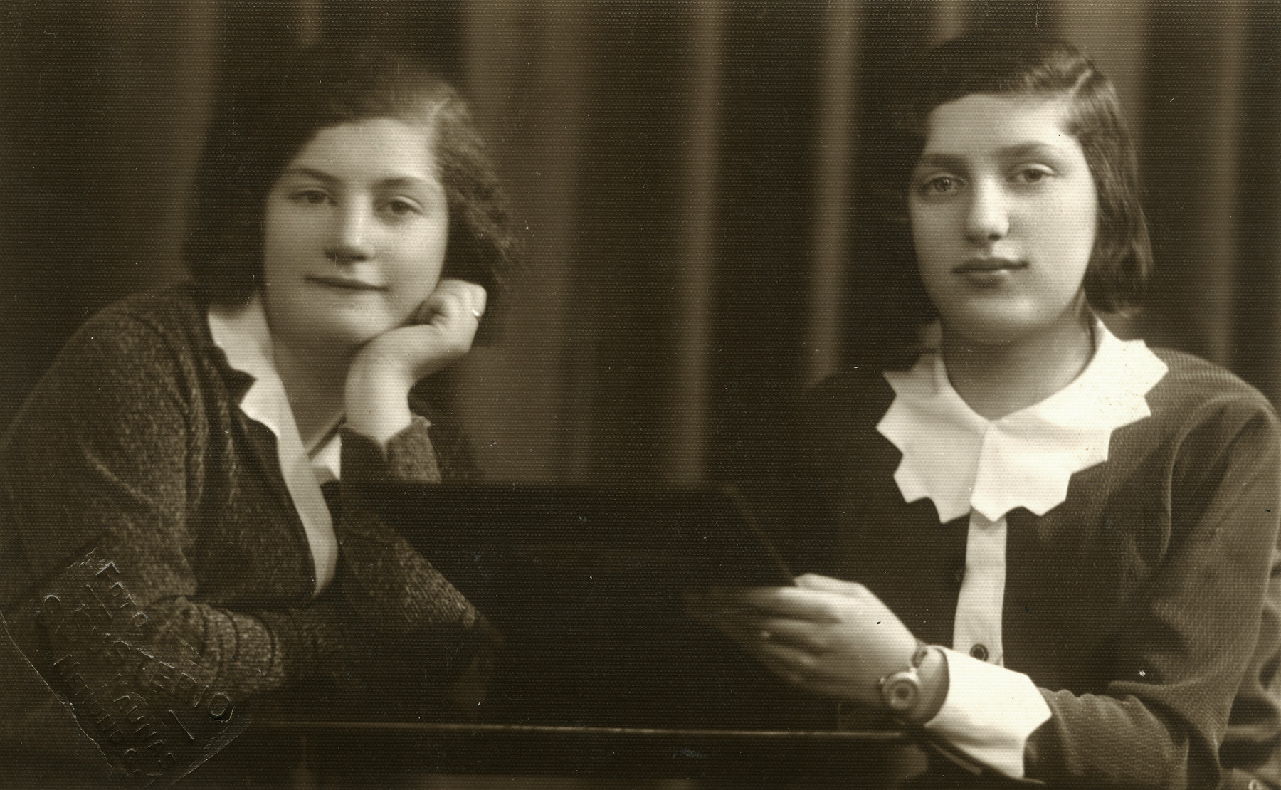 Studio portrait of Yiddish gymnasia students Rachel Godrov and her friend Lea.  Lea perished.