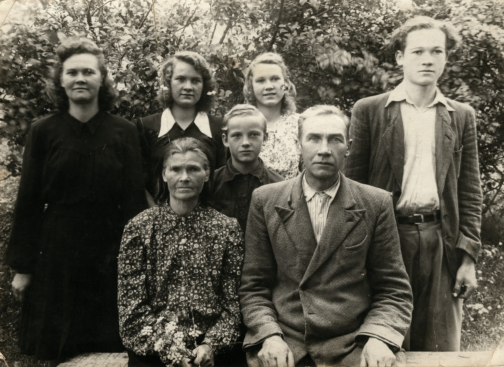The Karpovitch Family during the 1950s. Five of the seven children are pictured.  Zofia and Ignacy Karpovitch hid Rachel and Wolf Godrov and two of Rachel's cousins, Chaya and Katriel, for over two years until libteration in Lithuanina.   During the war Ignacy Karpovitch made alcohol and sold it.