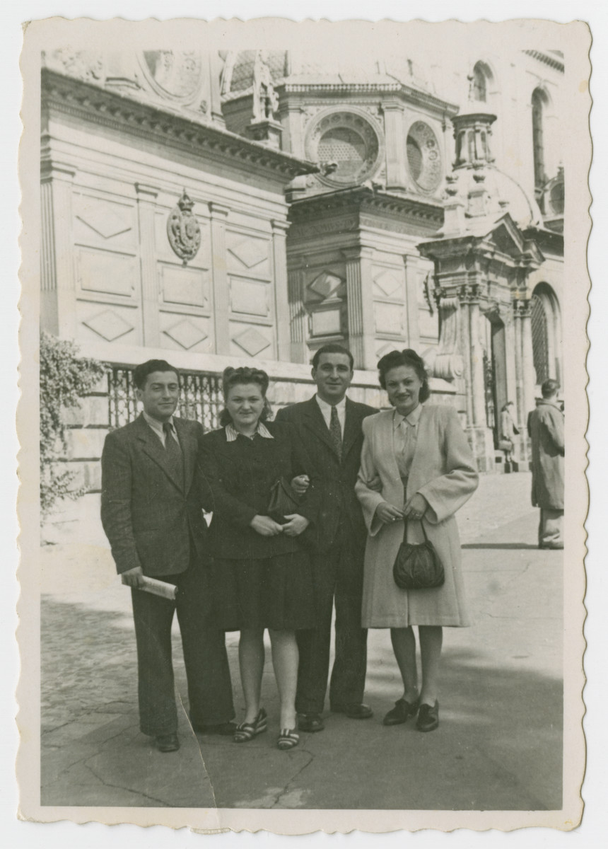 Michael Garber with wife, Franja and Samek Duvorestki (donor's sister and brother-in-law).  From the left: Michael, wife Etke, Sam, and Franja.