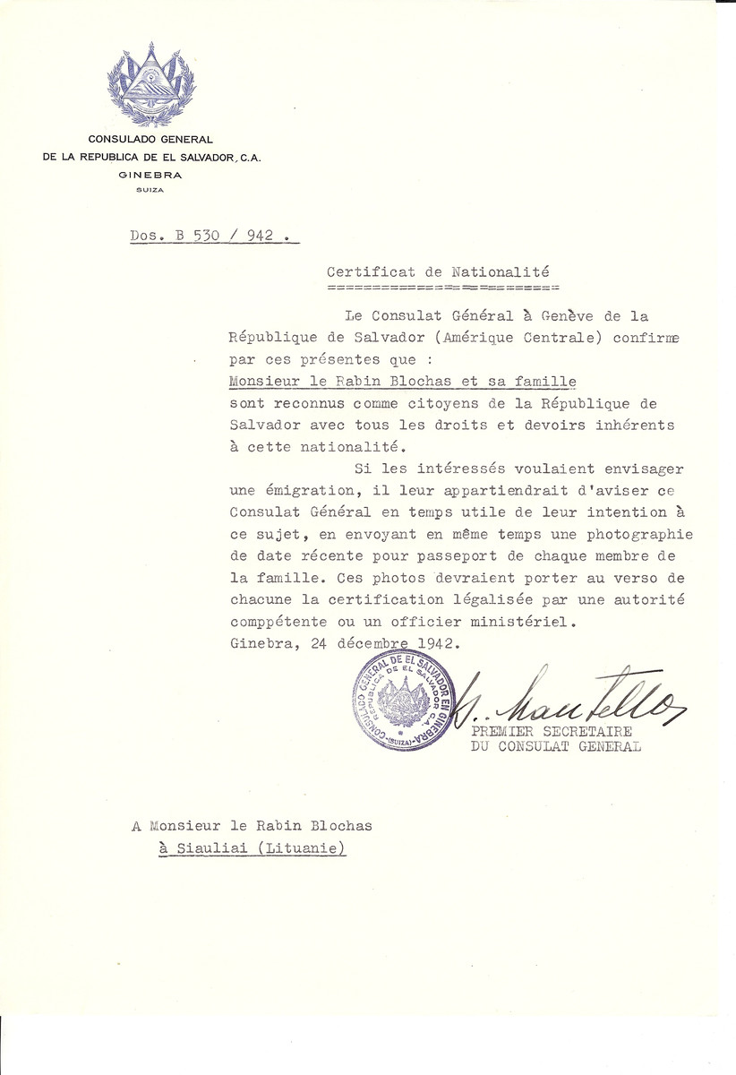 Unauthorized Salvadoran citizenship certificate made out to Rabbi Blochas and his children by George Mandel-Mantello, First Secretary of the Salvadoran Consulate in Geneva and sent to them in Siauliai.