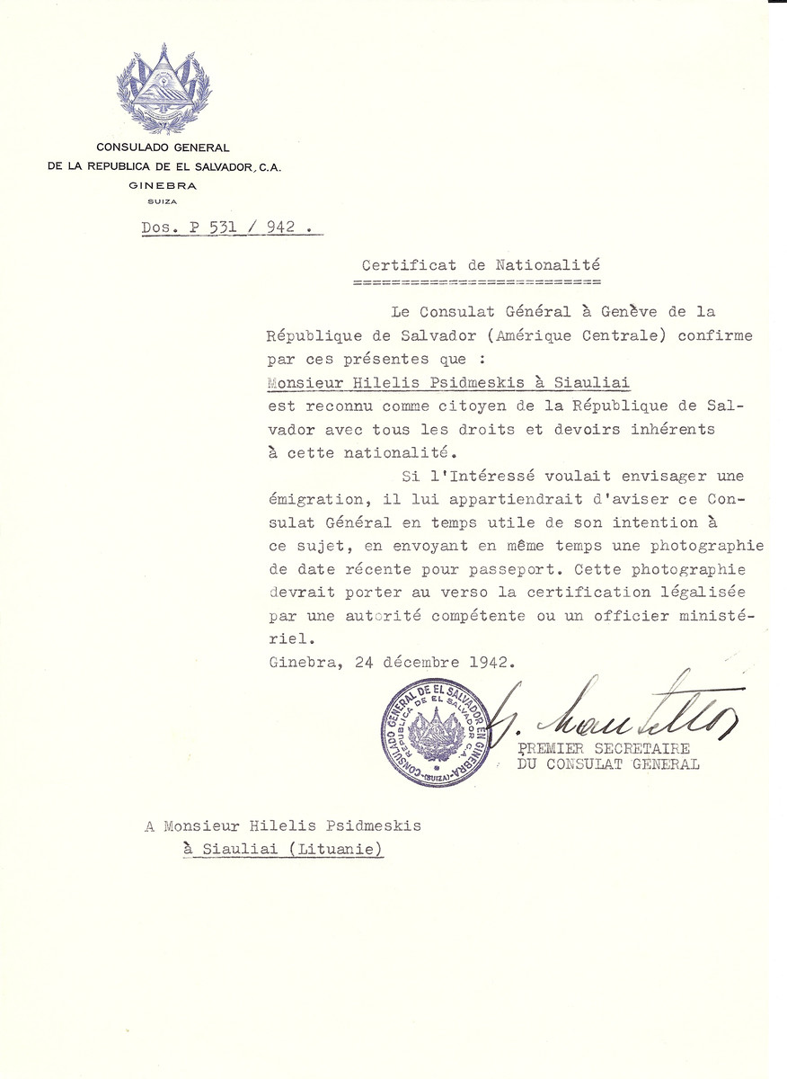 Unauthorized Salvadoran citizenship certificate made out to Hilelis Psidmeskis by George Mandel-Mantello, First Secretary of the Salvadoran Consulate in Geneva and sent to them in Siauliai.