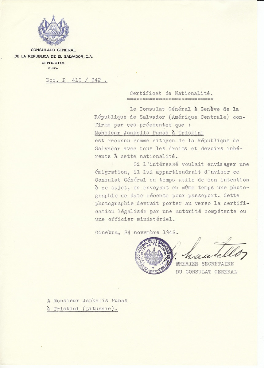 Unauthorized Salvadoran citizenship certificate made out to Jankelis Punas by George Mandel-Mantello, First Secretary of the Salvadoran Consulate in Geneva and sent to him in Triskiai.
