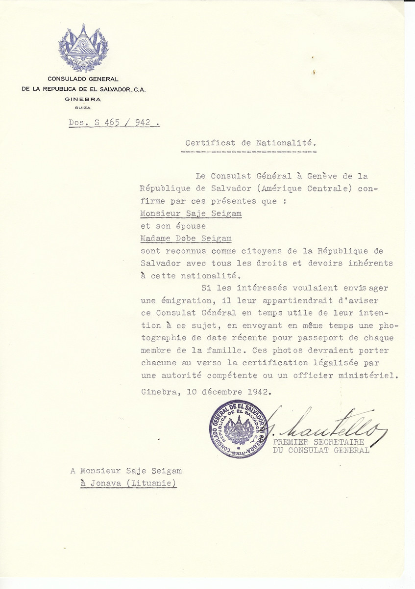 Unauthorized Salvadoran citizenship certificate made out to Saje Seigam and his wife Dobe Seigam by George Mandel-Mantello, First Secretary of the Salvadoran Consulate in Geneva and sent to them in Janowa.