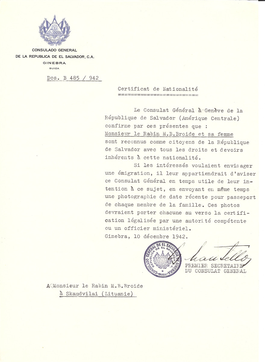 Unauthorized Salvadoran citizenship certificate made out to Rabbi M.B. Broide and his wife by George Mandel-Mantello, First Secretary of the Salvadoran Consulate in Geneva and sent to them in Skaudvilai.