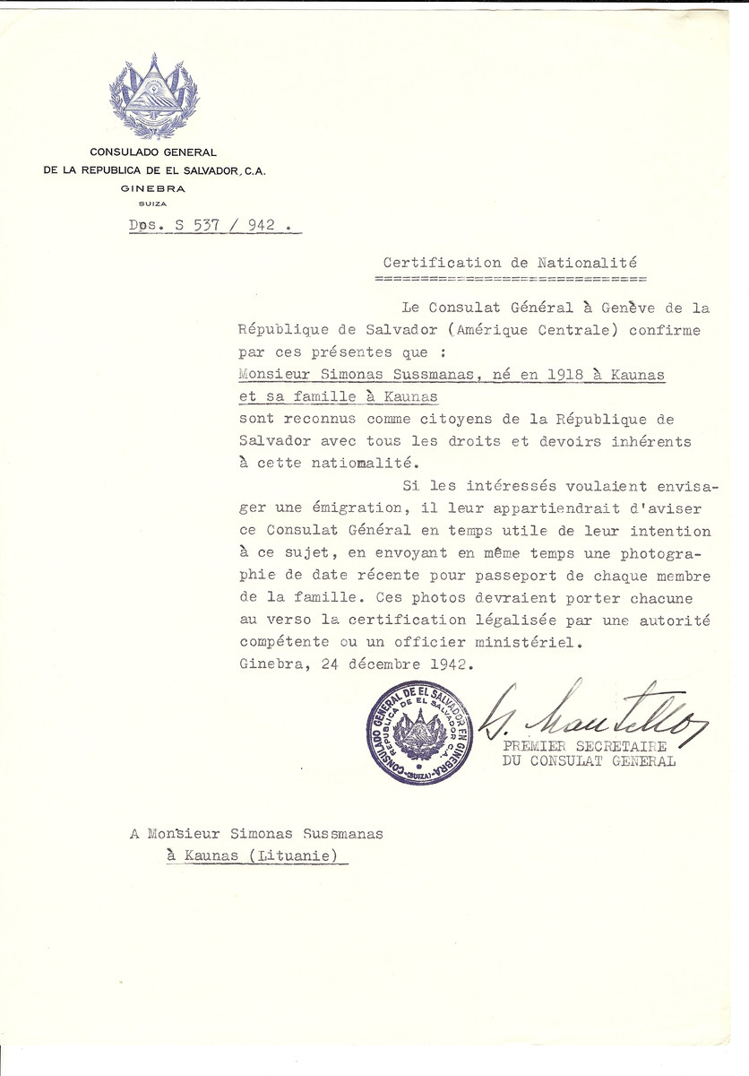 Unauthorized Salvadoran citizenship certificate made out to Simonas Sussmanas (b. 1918 in Kaunas) and his family by George Mandel-Mantello, First Secretary of the Salvadoran Consulate in Geneva and sent to them in Kaunas.