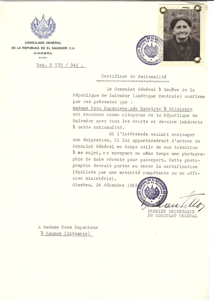 Unauthorized Salvadoran citizenship certificate made out to Rosa (nee Ravelyte) Kaganiene (b. Pilviskys) by George Mandel-Mantello, First Secretary of the Salvadoran Consulate in Geneva and sent to her in Kaunas.