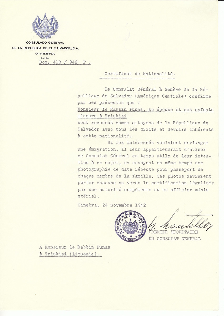 Unauthorized Salvadoran citizenship certificate made out to Rabbi Punas, his wife and children by George Mandel-Mantello, First Secretary of the Salvadoran Consulate in Geneva and sent to them in Triskiai.