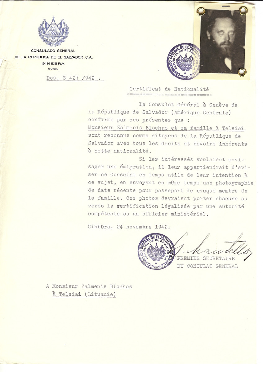 Unauthorized Salvadoran citizenship certificate made out to Zalmenis Blochas and his family by George Mandel-Mantello, First Secretary of the Salvadoran Consulate in Geneva and sent to them in Telsiai.